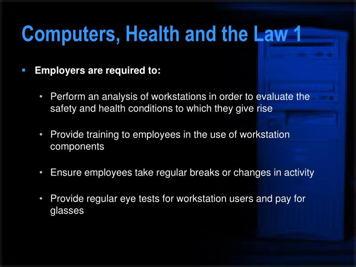 Computers, Health and the Law 1