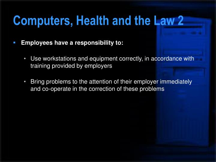 Computers, Health and the Law 2