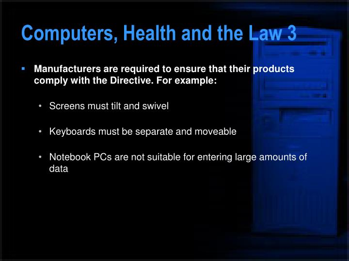 Computers, Health and the Law 3
