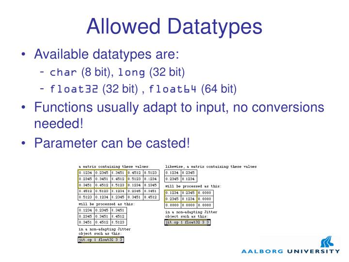 Allowed Datatypes