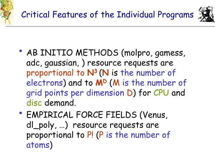Critical Features of the Individual Programs