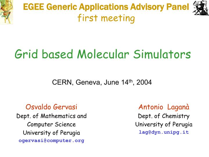 EGEE Generic Applications Advisory Panel