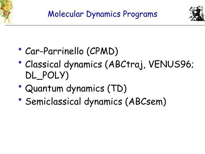 Molecular Dynamics Programs
