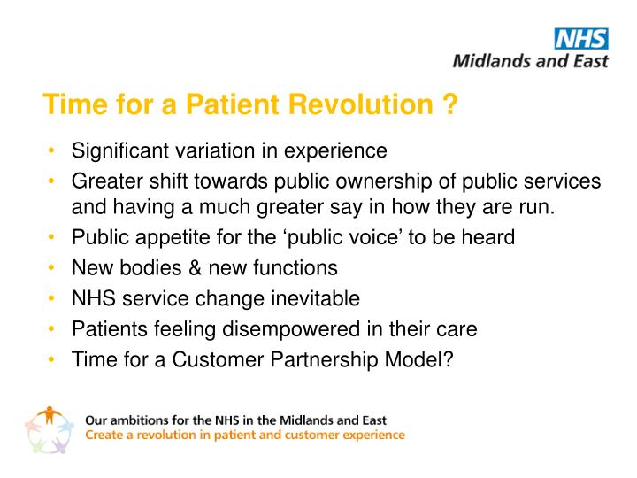 Time for a Patient Revolution ?