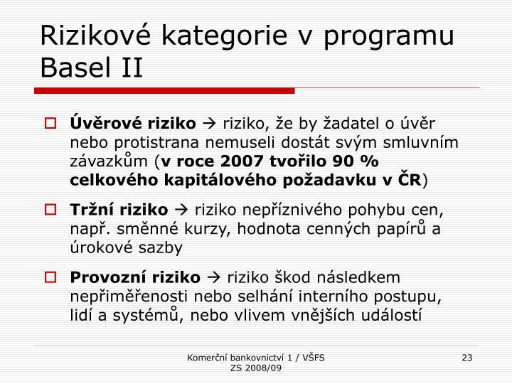 Rizikové kategorie v programu