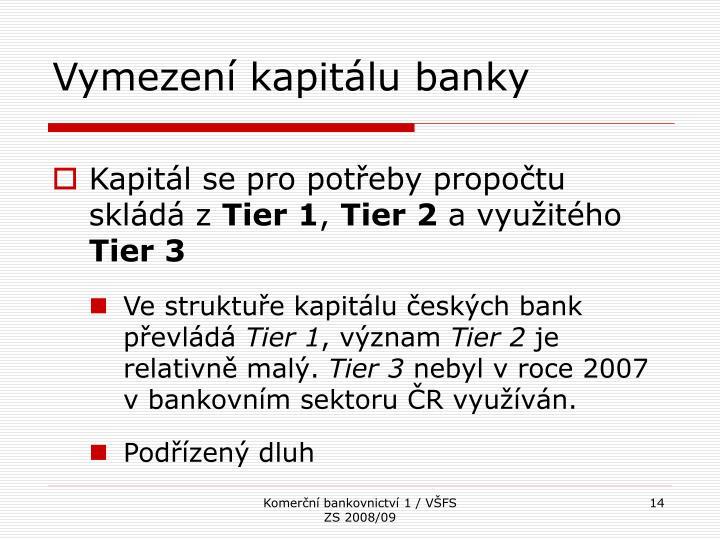 Vymezení kapitálu banky