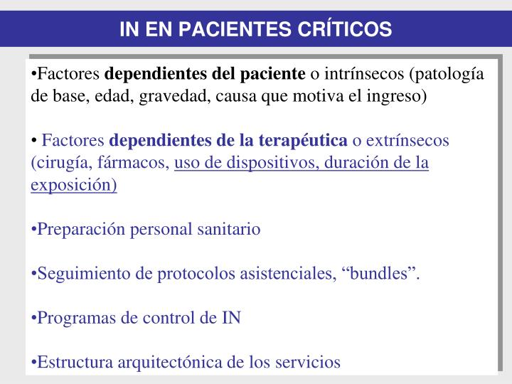 IN EN PACIENTES CRÍTICOS
