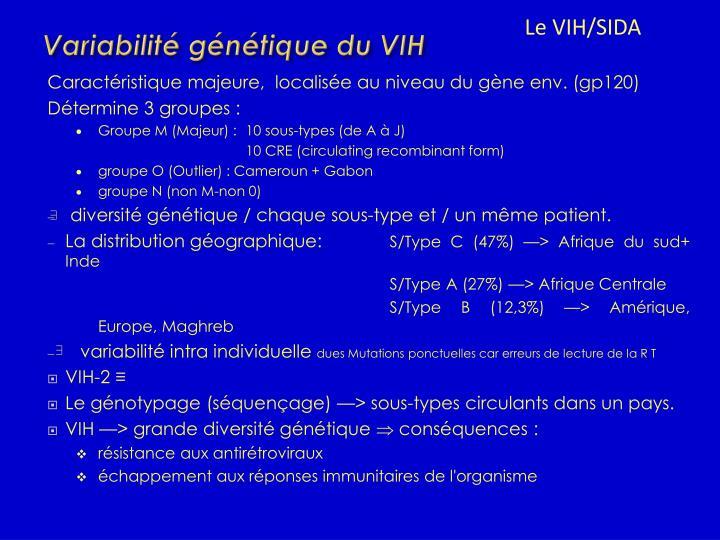 Variabilité génétique du VIH