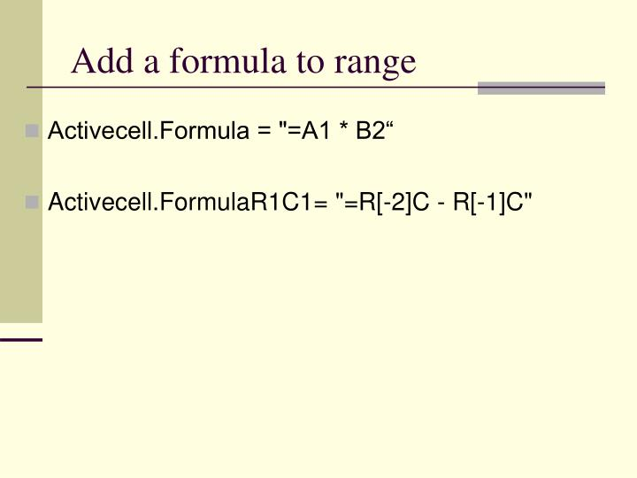 Add a formula to range