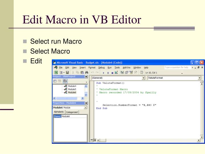 Edit Macro in VB Editor