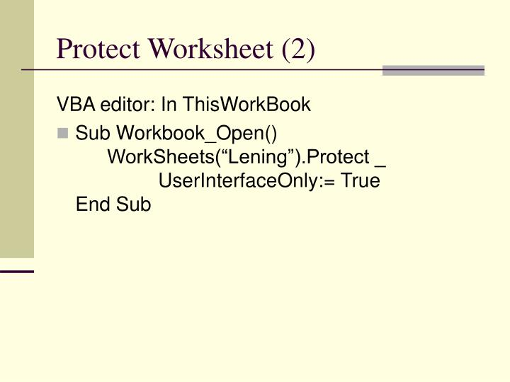 Protect Worksheet (2)