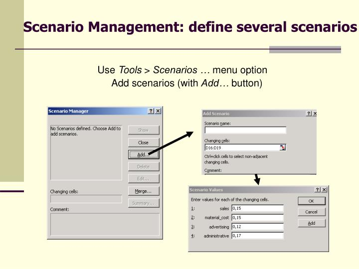 Scenario Management: define several scenarios