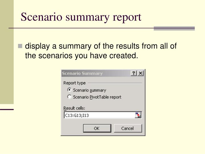 Scenario summary report
