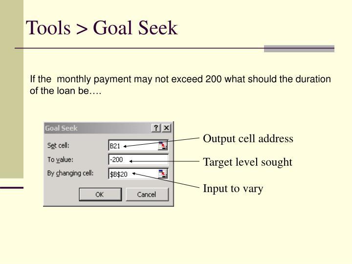 Tools > Goal Seek