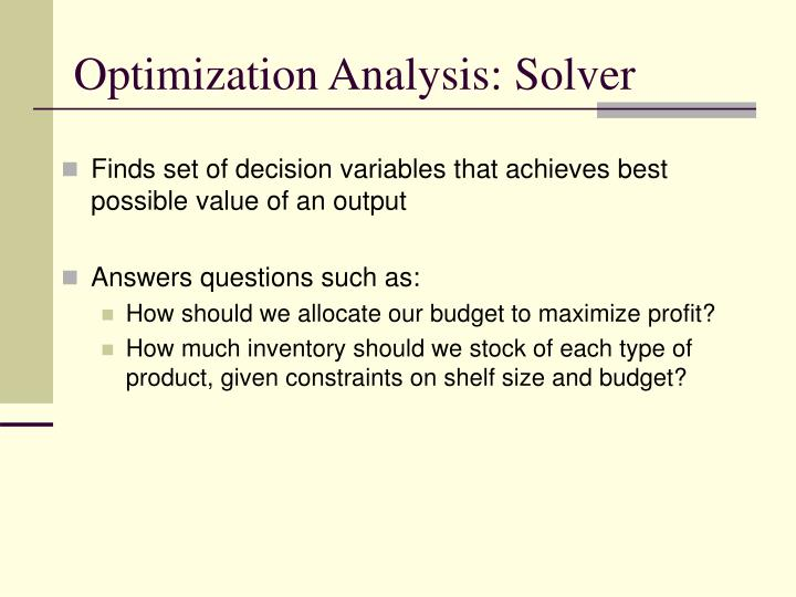 Optimization Analysis: Solver
