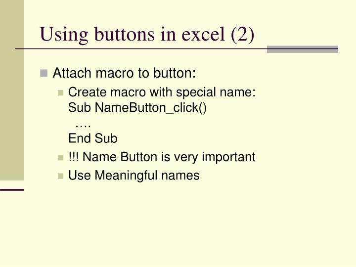 Using buttons in excel (2)
