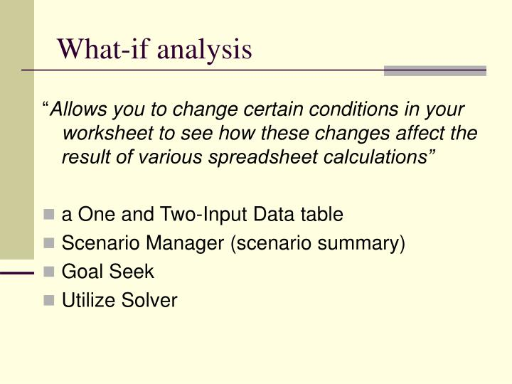 What-if analysis