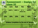 assessment design for class xi