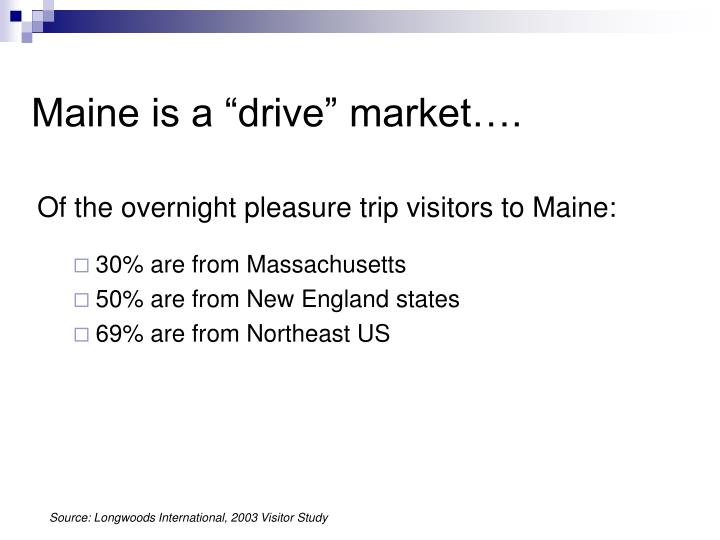 "Maine is a ""drive"" market…."