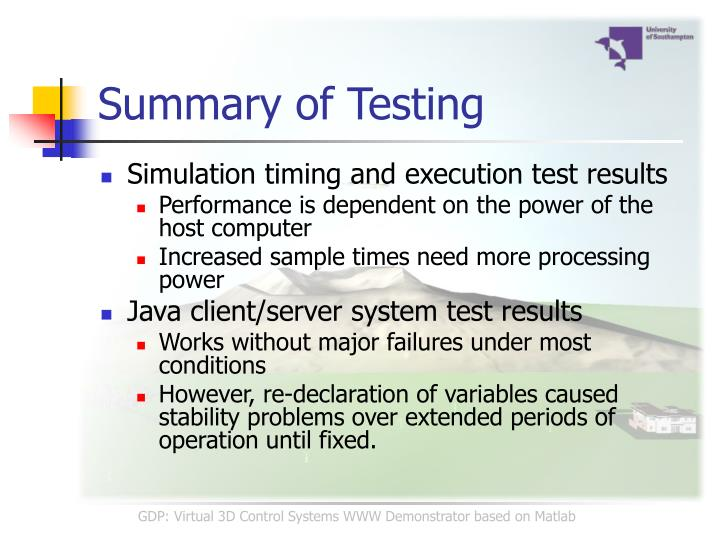 Summary of Testing