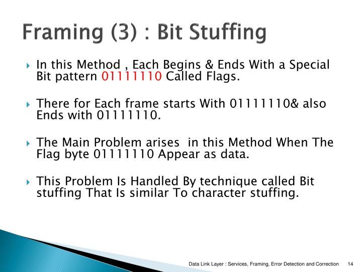 Framing (3) : Bit Stuffing