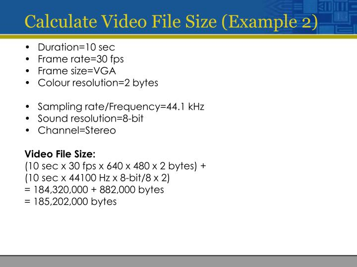 Calculate Video File Size (Example 2)