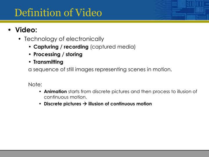 Definition of Video