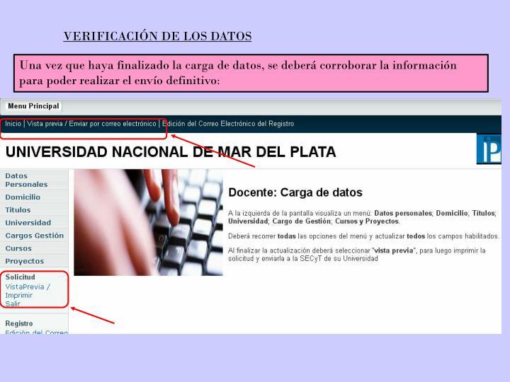 VERIFICACIÓN DE LOS DATOS