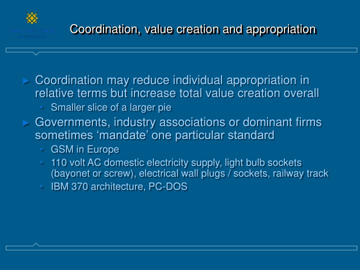 Coordination, value creation and appropriation