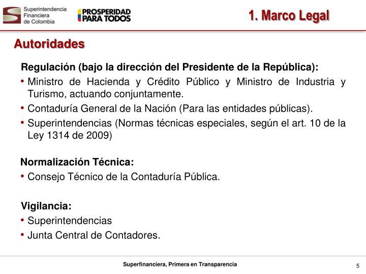 Regulación (bajo la dirección del Presidente de la República):