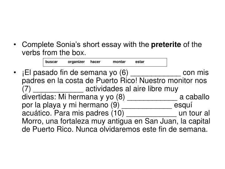 Complete Sonia's short essay with the