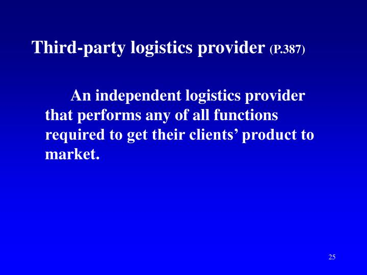 Third-party logistics provider