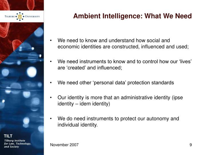 Ambient Intelligence: What We Need