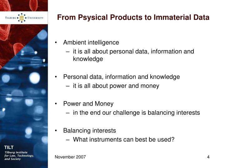 From Psysical Products to Immaterial Data