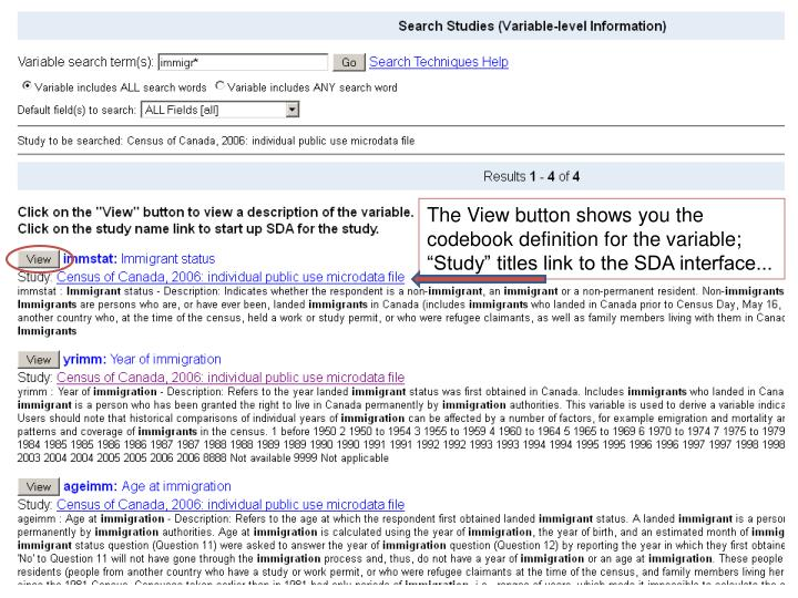 "The View button shows you the codebook definition for the variable; ""Study"" titles link to the SDA interface..."