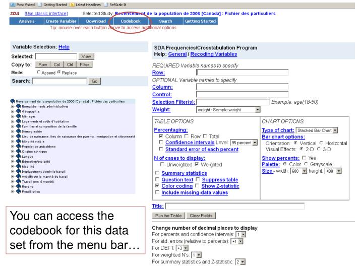 You can access the codebook for this data set from the menu bar…