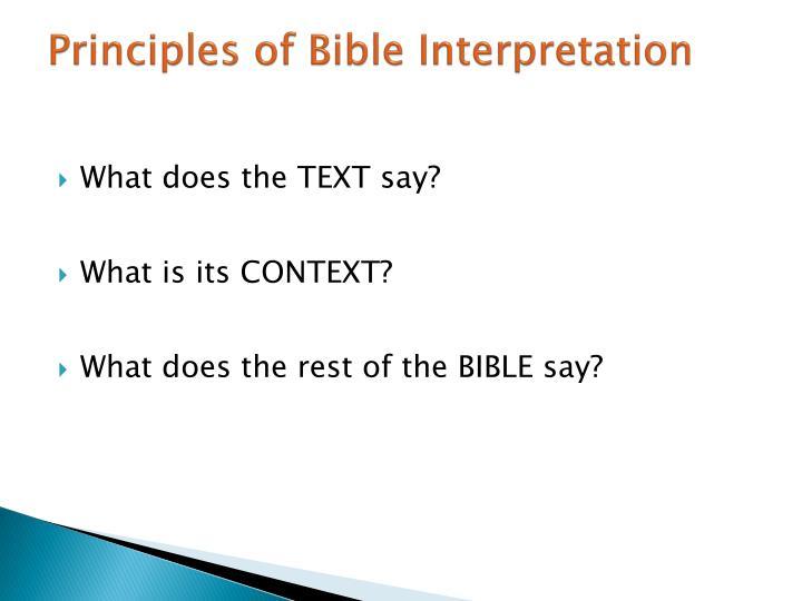 Principles of Bible Interpretation