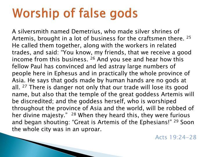 Worship of false gods