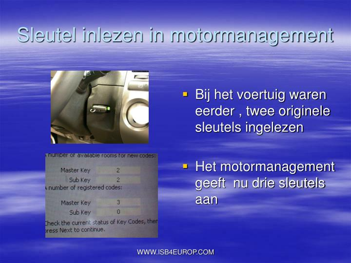 Sleutel inlezen in motormanagement
