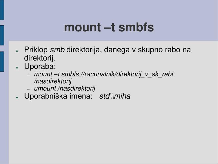 mount –t smbfs