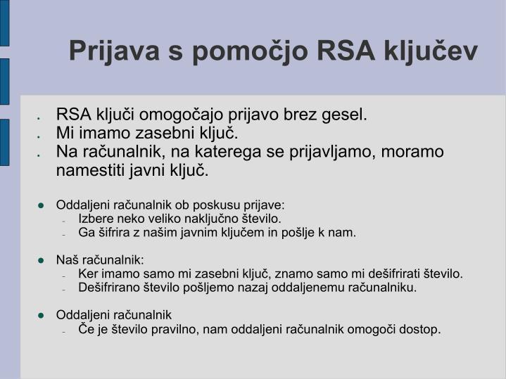 Prijava s pomočjo RSA ključev