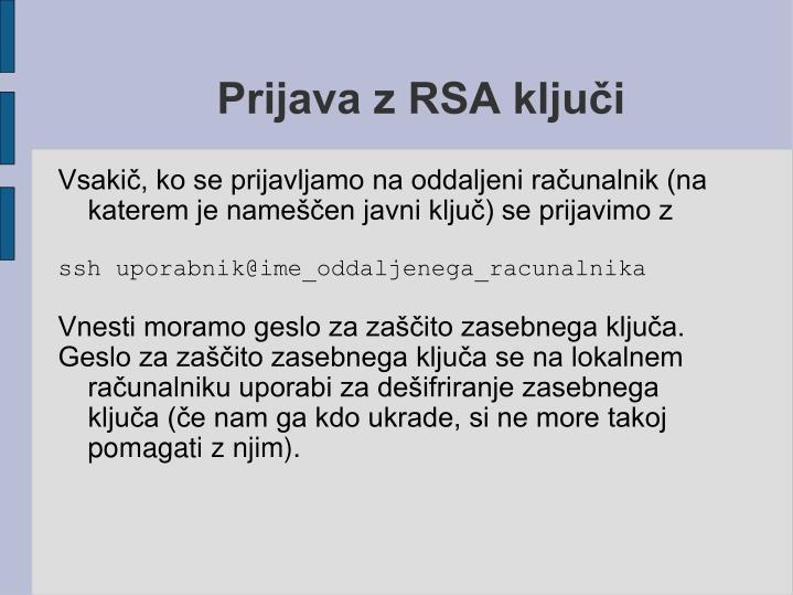 Prijava z RSA ključi