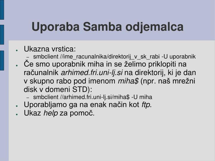 Uporaba Samba odjemalca