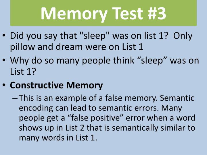 Memory Test #3