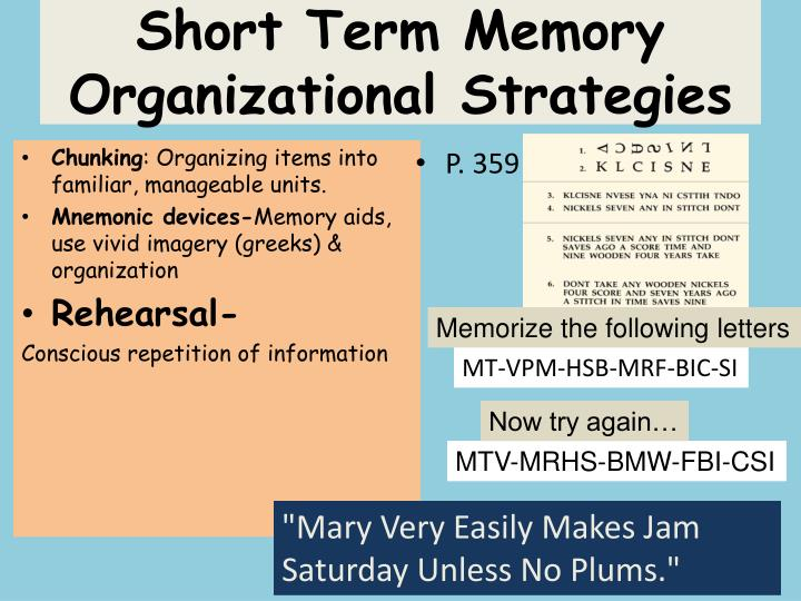 Short Term Memory Organizational Strategies