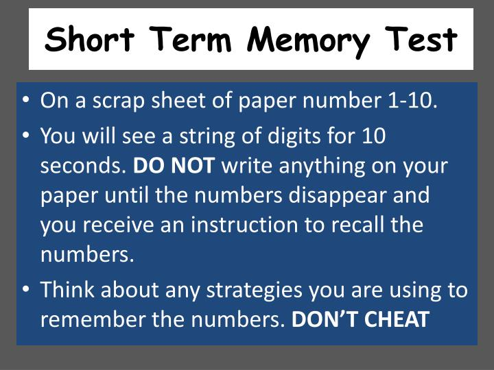 Short Term Memory Test