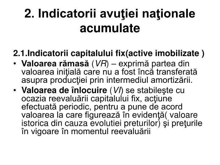 2. Indicatorii avuţiei naţionale acumulate