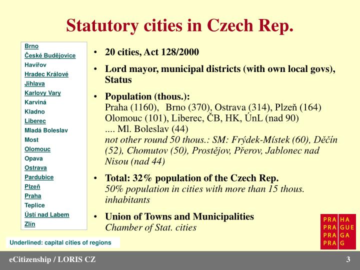 Statutory cities in Czech Rep.