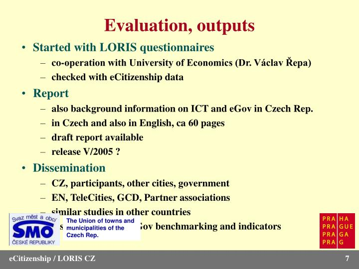 Evaluation, outputs