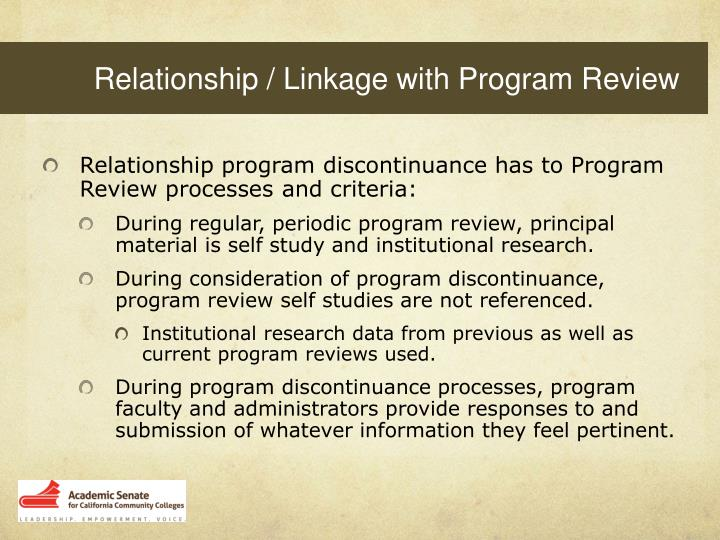 Relationship / Linkage with Program Review